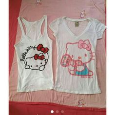 Hello Kitty Tank/Shirt Bundle HK Tee is an XS. HK tank is a M but both fit like a S. Only w Hello Kitty Top bundle orn a couple of times.  Condition: Good  *Will not respond to offers made in the comments, so please use the OFFER BUTTON to make offers!  *NO TRADES. *Any questions or concerns, feel free to ask :) Hello Kitty Tops Tees - Short Sleeve