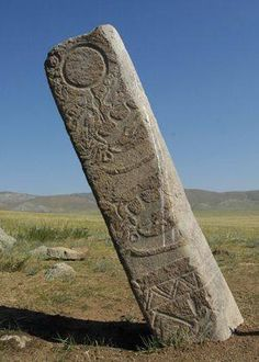 Mongolia - Mongolian Deer Stone. Deer stones (also known as reindeer stones) are ancient megaliths carved with symbols that can be found all over the world but are concentrated largely in Siberia and Mongolia. The name comes from their carved depictions of flying deer.
