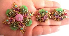 VINTAGE UNSIGNED MIRIAM HASKELL RHINESTONE GLASS FLORAL BROOCH EARRING SET! 389M