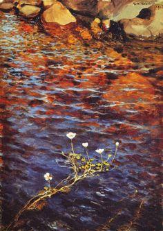 Pond Water Crowfoot I 1895 I Eero Järnefelt - Impressionist Paintings, Old Paintings, Landscape Paintings, Helene Schjerfbeck, Pop Art, Street Art, Nordic Art, Painting Inspiration, Art Pictures