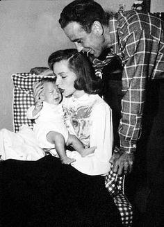 Humphrey Bogart, Lauren Bacall, and their son, Stephen, at home, 1949.