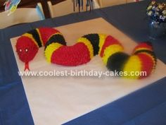 Homemade Coral Snake Cake: My son is crazy about reptiles, especially snakes. We decided to have a reptile themed party for his 4th birthday and I made this Homemade Coral Snake
