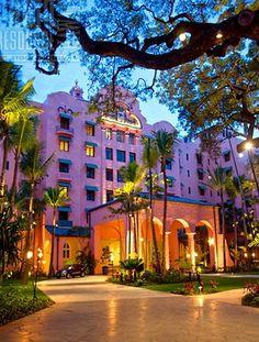 The iconic Royal Hawaiian Hotel, Waikiki.