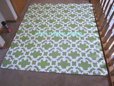 Shower Curtain Rug...  Isn't she lovely????  After looking several places, found this beautiful FABRIC shower curtain at Target.  It was $20.You could use any of your favorite fabrics, and it was already hemmed and everything!!...