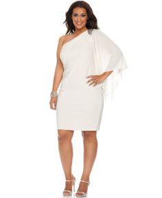 R Richards Plus Size Dress, Three Quarter Flutter Sleeve One Shoulder Beaded Cocktail Dress - Plus Size Dresses - Plus Sizes - Macy's