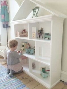 Turn a bookcase into a dollhouse