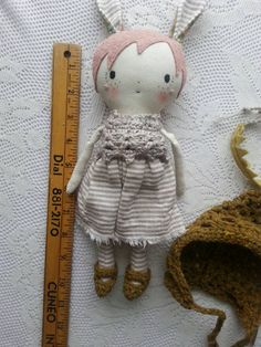 WOODLANDIA girl dolly  10ish handmade cloth doll with