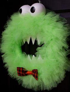 Front door halloween decor ideas - DIY Monster Wreath - Click Pic for 20+ ideas