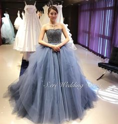 Pin by June Halverson on Health 15 Dresses, Nice Dresses, Evening Dresses, 8th Grade Prom Dresses, Colored Wedding Dress, Dress Hairstyles, Ballroom Dress, Blue Gown, Beautiful Gowns