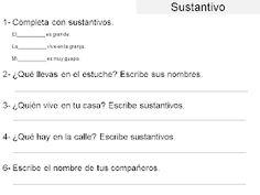 AUDICIÓN Y LENGUAJE: GRAMÁTICA ADAPTADA: EL SUSTANTIVO Spanish Language, Names, Activities