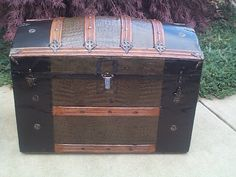 Large Pressed Tin Dome Top Antique Trunk