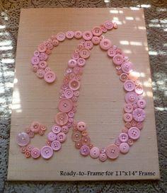 Baby Nursery Wall Art Button LETTER D by letterperfectdesigns
