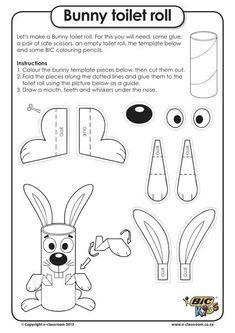 Faire un lapin avec un rouleau en carton. Idée de création de #Paques à faire avec les enfants::