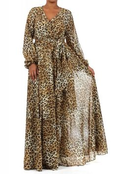 Top shop printed wrapped V-neck long dress.