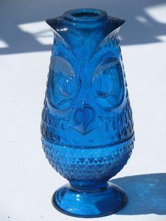 Tall mod owl, vintage 1970s Viking aqua glass candle lamp fairy light