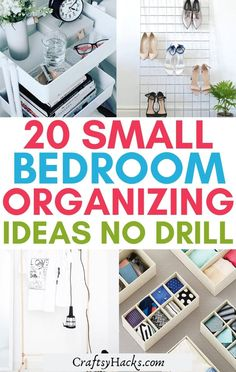 You can easily have more useable bedroom storage in your small room or apartment without causing damage with these brilliant no drill organizing ideas. These bed organization tips require no drilling so you can enjoy a more organized bedroom. #Organizing #bedroom Small Bedroom Organization, Home Organization Hacks, Bedroom Storage, Organized Bedroom, Planning And Organizing, Organizing Ideas, Wicker Hamper, Hamper Boxes, Home