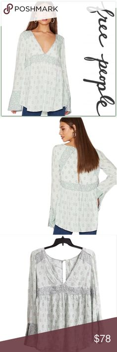 NWT Free People Rolling Hills Tunic ➖NWT ➖BRAND: Free People ➖SIZE: Small ➖STYLE : Rolling Hills Tunic in green combo / mint   ❌NO TRADE  Ruffle sleeve    Entropy Free People Tops Blouses
