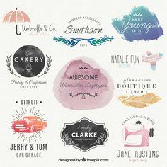 Logotipos aguarela bonita Vetor grátis