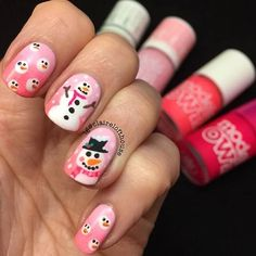 Cute Pink Snowmen Nails