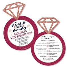 party games funny Vino Before Vows - Selfie Scavenger Hunt - Winery Bachelorette Party Game - Set of 12 Tween Party Games, Princess Party Games, Backyard Party Games, Dinner Party Games, Winery Bridal Showers, Bridal Shower Games, Diy Party Crafts, Craft Party, Winery Bachelorette Party