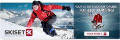 Huur je ski's vooraf online. Tot 45% korting! #ski #wintersport #korting #aanbieding #belvilla #vakantiehuis