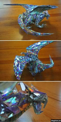 Dragon sculpture made out of CD shards