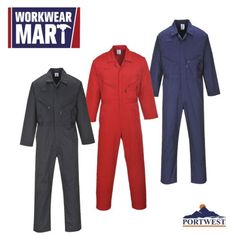 Portwest-Zip-Coverall-Overall-Protective-Work-Mechanic-Boilersuit-M-5XL (7oz with double zipper front) $25.90 BLACK ONLY