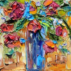 Original oil painting Flowers Palette knife by Karensfineart