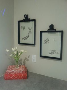 Great DIY note board! A simple frame with only the glass to write on. Home #24 Bangerter Homes