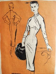 1950s Striking Bombshell Slim Dress Pattern Alan Phillips For Prominent Designer 272 Vintage Sewing Pattern Surplice Empire Bodice Figure Moulding Slim Skirt FACTORY FOLDED