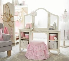 Shop the kids shop for bedding and more at Pottery Barn Kids. Find quality kids furniture for the playroomand their bedroom. Big Girl Bedrooms, Little Girl Rooms, Girls Bedroom, Bedroom Ideas, Trendy Bedroom, Dream Bedroom, Little Girl Vanity, Girls Vanity, Vanity Set