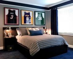 teen girls and boys bedrooms...I like the framed jerseys