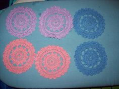 Colorful Crochet Doilies/Coasters Set Of 6 by amydscrochet on Etsy, $12.00