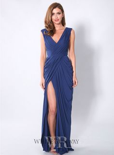 Ramira Dress. A beautiful full length gown by Les Demoiselle. A v-neck style with wide shoulder straps and a front slit.