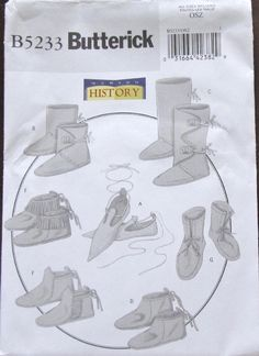 Historical Costume Sewing Pattern Butterick 5233 Medieval Frontier Footwear Shoes Boots Moccasins Slippers Men Size 5-13 Uncut Factory Folds by RosesPatternsEtc on Etsy