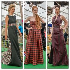 3 of my dresses from my collection for the NSA Young Designer Contest - Louise Devlin Couture  #tartan #evening #dress #bridal #event #prom #wool #fashion #show #designer #dressmaker