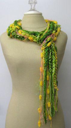 Bright green yellow braids Gypsy Fringe Scarf by PurpleSageDesignz, $ 19.00