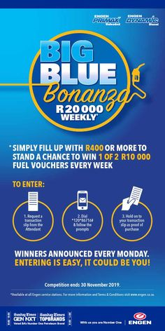 Win with big blue bonanza at El Madre Motors - Engen, Simply fill up with or more to stand a chance to win 1 of 000 fuel vouchers every week. Just as easy as For inquiries contact us on 013 744 1156 Dr E, Filling Station, Simply Filling, Motors, Hold On, Big, Easy, Naruto Sad, Motorbikes