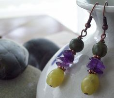 JOYFULLY Olive Jade Earrings with Amethyst and Nephrite Jade via riverpebble stonewear ~ handmade jewelry. Click on the image to see more!