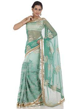 Spring green saree