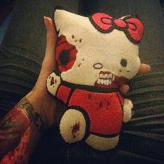 Zombie hello kitty felt plushy!!!! Etsy.com/shop/horrorables
