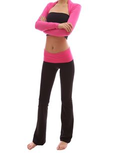 PattyBoutik Color Block Foldover Waistband Bootcut Lounge Sport Yoga Pant