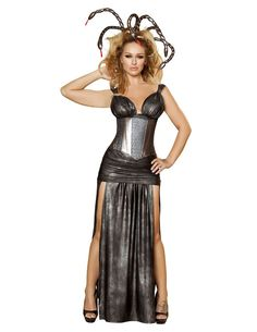 4pc Sexy Medusa Includes Gown, Shirred Skirt, Waist Cincher, & Snake Headband Color: Grey • Size: S, M, L Fabric:Poly/Spandex MADE IN US