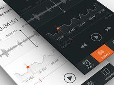 Sleep Tracker UI, Part 2 | UX, iPhone interface, Flat, iOS 7