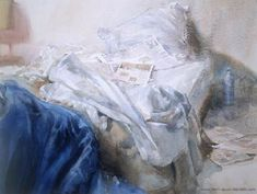 "Jean-Louis Morelle : aquarelliste ""the unmade bed"" Unmade Bed, Fabric Drawing, Art Aquarelle, Glass Centerpieces, Watercolour Painting, Watercolours, Cut Glass, Les Oeuvres, Art Reference"
