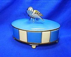 Art Deco Neu-Tettau Bavaria Porcelain Candy Box with Butterfly #^