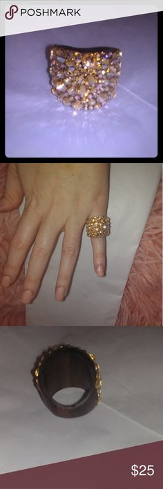 Bling Glam Ring💎 This is such a fun piece!! I just never go anywhere to wear it 😄 #momlife. EUC, only worn once or twice. Wooden base. Bought on Etsy. So much sparkle! Pictures don't do it justice. Size 7/8 Jewelry Rings