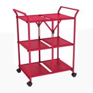 3 Shelf Folding cart with handle, Red