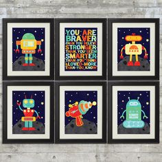Robot Nursery Art, Kids Wall Art, Space Nursery Art , Set of 6-  8x10 Prints, Featuring 4 Cute Robots, Space Gun & Braver Than You Believe