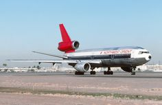 Northwest Orient Airlines McDonnell Douglas DC-10-40 N145US taxiing to the terminal at Phoenix-Sky Harbor, February 1986. (Photo via Facebook: Departed Wings Slide Collection)